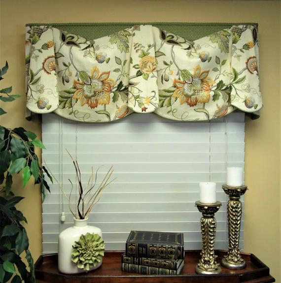 "Custom Valance Bev's Blouse Hidden Rod Pocket Valance Fits 47"" 66"" Window, Window Topper, Your Fabrics, My Labor And Lining Inside Tailored Toppers With Valances (View 17 of 25)"