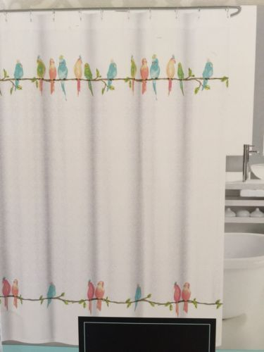 Cynthia Rowley Fabric Shower Curtain Parakeets /birds,scroll In Rowley Birds Valances (View 9 of 25)