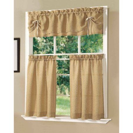 Dainty Home Lucia Kitchen Window Curtain Set Of 3, Gold In Within Lodge Plaid 3 Piece Kitchen Curtain Tier And Valance Sets (View 18 of 25)