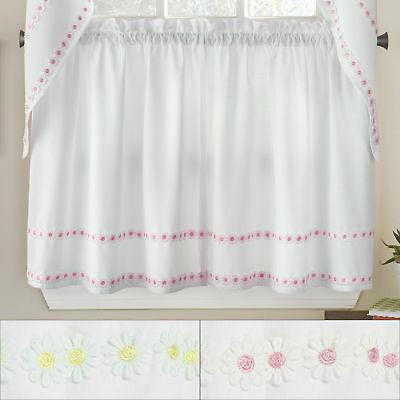 "Daisy Mae Floral Kitchen Window Curtain Tier Pair 36""x56"" | Ebay Inside Hudson Pintuck Window Curtain Valances (Image 6 of 25)"