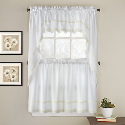 Daisy Mae Floral Kitchen Window Curtain Tier Pair, Valance Or Swag Pair Yellow | Ebay Throughout Cotton Blend Ivy Floral Tier Curtain And Swag Sets (View 10 of 25)