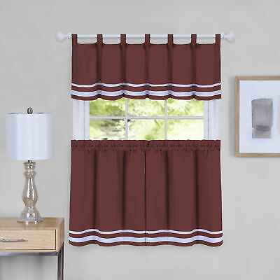 Dakota Window Curtain Tier Pair And Valance Set – 58X24 | Ebay Intended For Window Curtain Tier And Valance Sets (Image 10 of 25)