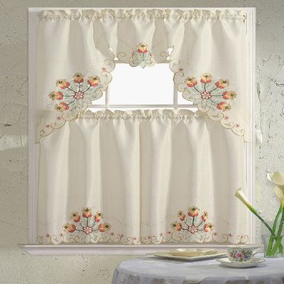 "Daniels Bath Embroidered 60"" Valance And Tier Set Color Within Urban Embroidered Tier And Valance Kitchen Curtain Tier Sets (View 5 of 25)"