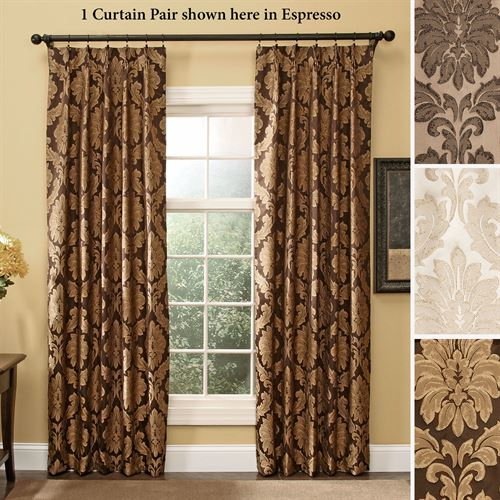Darby Damask Pinch Pleat Curtain Pair Drapes With Pleated Curtain Tiers (View 23 of 25)