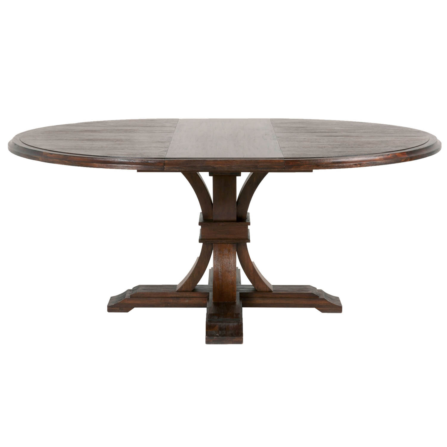 Darby Round Extension Dining Table, Rustic Java – Brown For Most Up To Date Rustic Mahogany Benchwright Pedestal Extending Dining Tables (View 10 of 25)