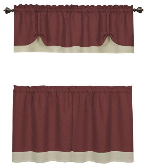 "Darcy Window Curtain Tier And Valance Set, 58""x24""/58""x14"", Marsala/tan Regarding Traditional Two Piece Tailored Tier And Valance Window Curtains (View 14 of 25)"