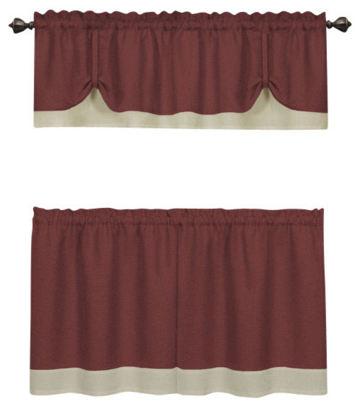 "Darcy Window Curtain Tier And Valance Set, 58""x24""/58""x14"", Marsala/tan With Window Curtain Tier And Valance Sets (Image 11 of 25)"