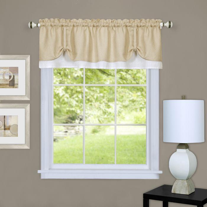 Darcy Window Curtain Valance, Tan/white Inside Dakota Window Curtain Tier Pair And Valance Sets (View 14 of 25)