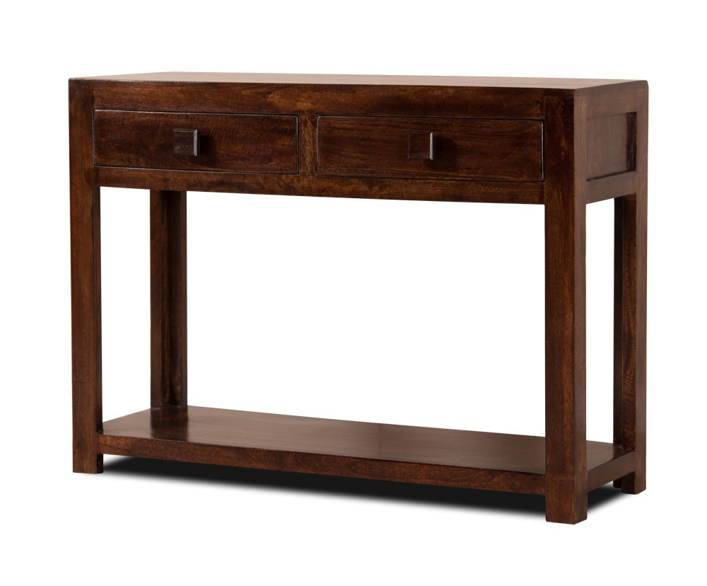 Dark Walnut Stained Console Table Mango Wood Hall Table Casa Throughout Newest Brussels Reclaimed European Barnwood Dining Tables (View 15 of 25)