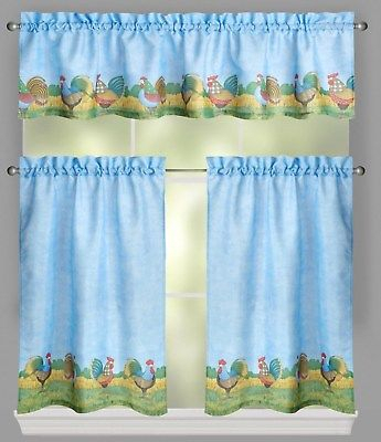 Debbie Mumm Rooster Farm Tier And Valance Set 36L Blue | Ebay With Coffee Drinks Embroidered Window Valances And Tiers (View 16 of 25)