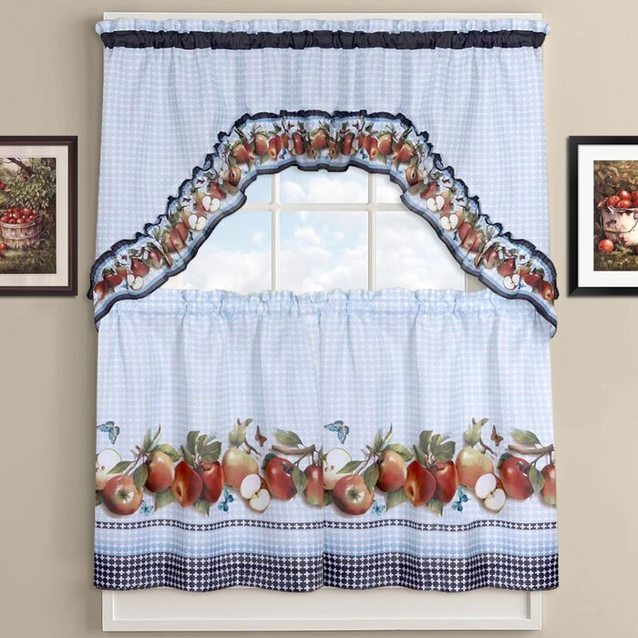 Delicious Apples Kitchen Curtains In Red Delicious Apple 3 Piece Curtain Tiers (View 6 of 25)