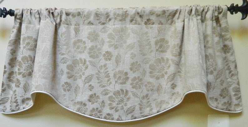 Designer Beige Floral Window Valance Lined And Corded Rod Pocket Scalloped Valance Poly Woven Fabric Made To Order Intended For Floral Pattern Window Valances (View 12 of 25)