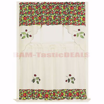 Details About 3 Piece Kitchen Curtain With Swag And Tier Regarding Embroidered Ladybugs Window Curtain Pieces (View 3 of 25)