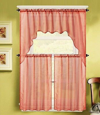 Details About 3Pc K66 Brick Voile Sheer Kitchen Window Curtain 2 Tiers And  1 Swag Valance Set Throughout Window Curtain Tier And Valance Sets (Image 12 of 25)