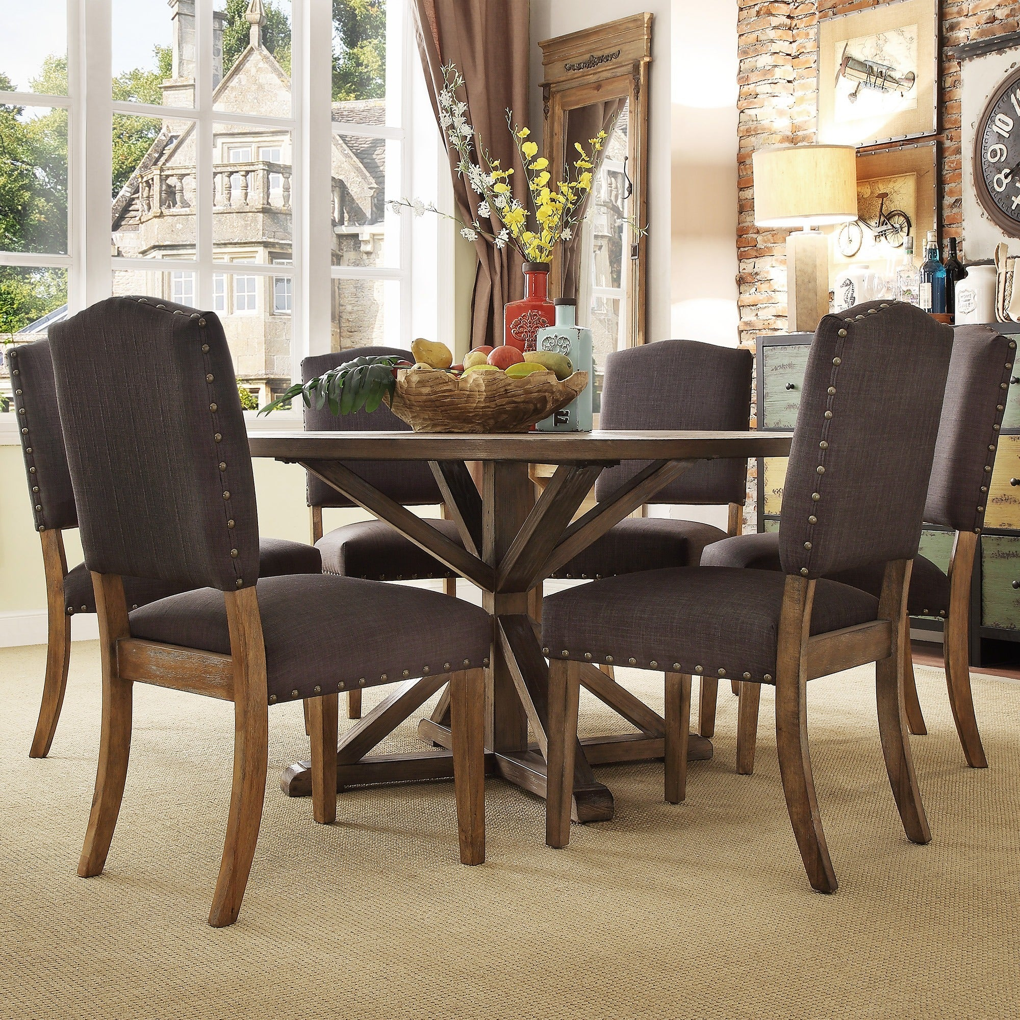 Details About Benchwright Rustic X Base Round Pine Wood Nailhead 7 Piece In 2017 Gray Wash Benchwright Dining Tables (View 22 of 25)