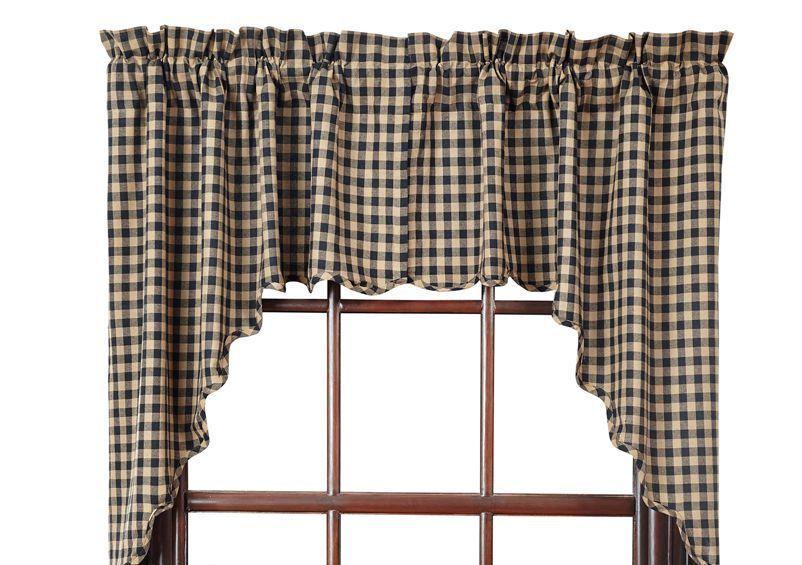Details About Black Check Window Swag Scalloped Farmhouse Throughout Cotton Blend Classic Checkered Decorative Window Curtains (View 9 of 25)
