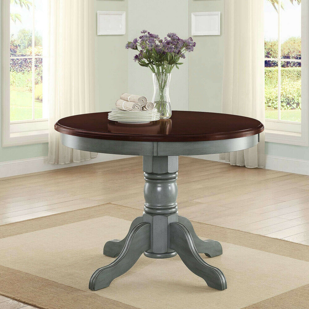 Details About Cambridge Farm House Dining Table Rustic Antique Blue Round Table Mocha Top Regarding Latest Aztec Round Pedestal Dining Tables (View 7 of 25)