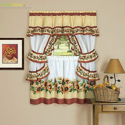 Details About Chevron Sunflower Complete Cottage Kitchen With Sunflower Cottage Kitchen Curtain Tier And Valance Sets (View 6 of 25)