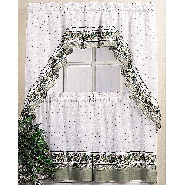 Featured Image of Cotton Blend Ivy Floral Tier Curtain And Swag Sets