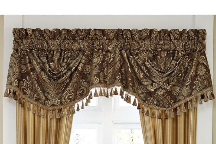 Details About Croscill Swag Valance Fringed 'kensington Throughout Waverly Kensington Bloom Window Tier Pairs (View 2 of 25)