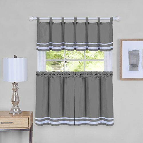 Details About Dakota Window Curtain Tier Pair And Valance Set – 58X36 – Grey For Window Curtain Tier And Valance Sets (Image 13 of 25)