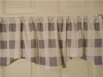 """Details About Farmhouse Kitchen Valance Curtain~2 1/2"""" Buffalo Check~Gray~White~Window~Topper Pertaining To Barnyard Buffalo Check Rooster Window Valances (View 8 of 26)"""