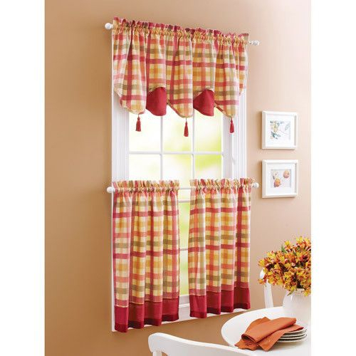 Details About Green And Tan Plaid Homespun Valance Tiers Within Modern Subtle Texture Solid Red Kitchen Curtains (View 13 of 25)