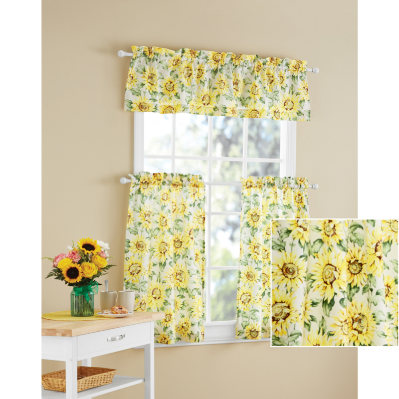 Details About Kitchen Curtains Sunflower 3 Piece Valance Set Machine Washable Polyester Finish Throughout Sunflower Cottage Kitchen Curtain Tier And Valance Sets (View 3 of 25)