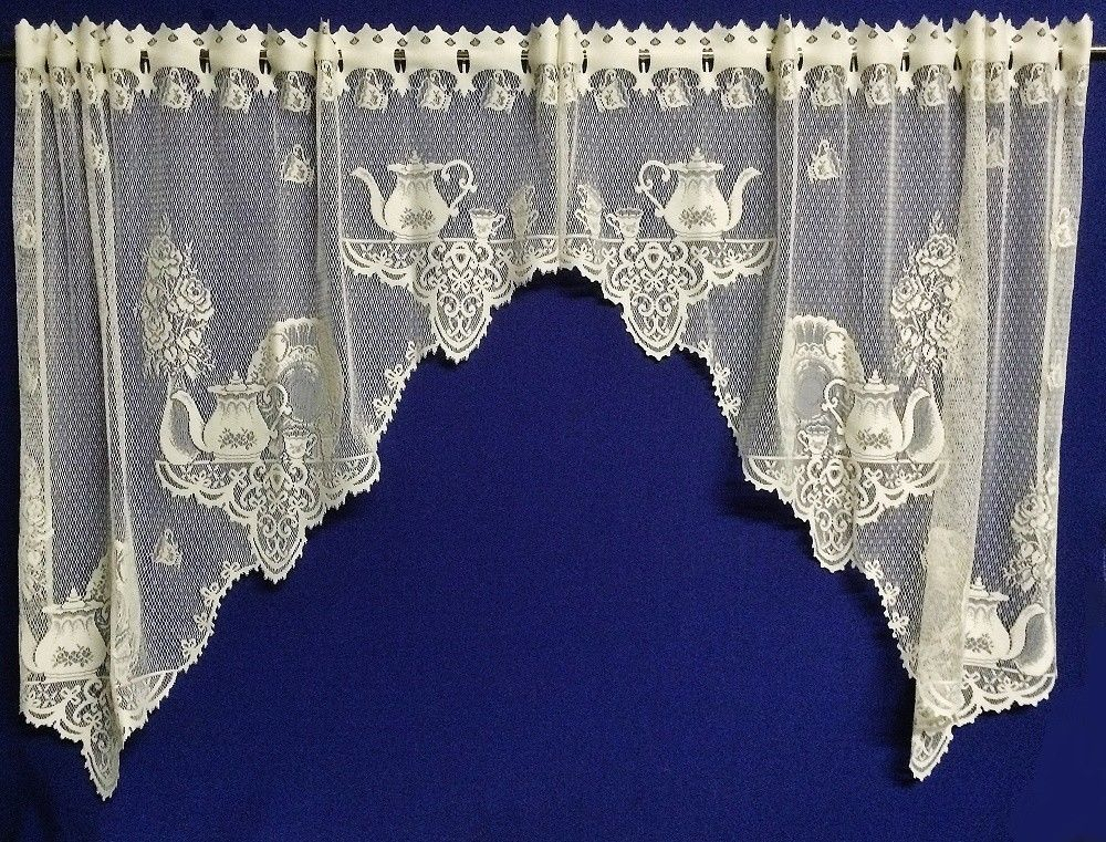 Details About Knit Lace Bird Motif Kitchen Window Curtain For White Knit Lace Bird Motif Window Curtain Tiers (View 12 of 25)