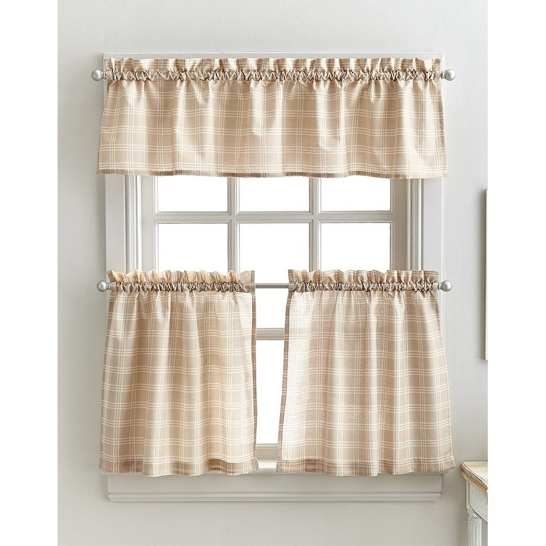 Details About Lodge Plaid 3 Piece Kitchen Curtain Tier And Valance Set – Intended For Scroll Leaf 3 Piece Curtain Tier And Valance Sets (View 7 of 25)