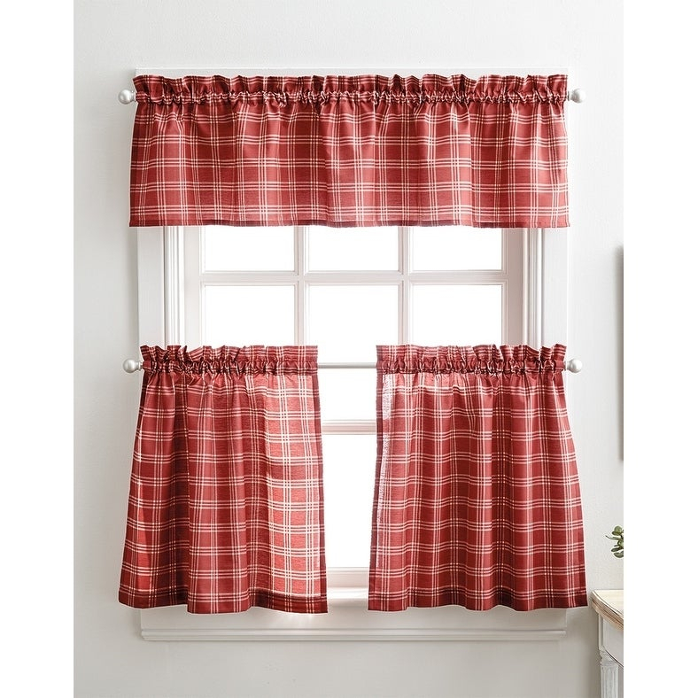 Details About Lodge Plaid 3 Piece Kitchen Curtain Tier And Valance Set – Throughout Scroll Leaf 3 Piece Curtain Tier And Valance Sets (View 3 of 25)