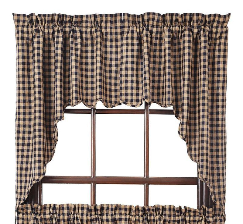 Details About Navy/tan Check Scalloped Cotton Country Cottage Lined Window Swags For Check Scalloped Swag Sets (View 3 of 25)