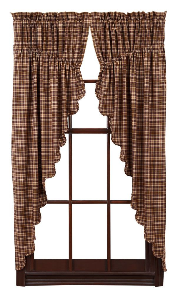 Details About New Country Primitive Log Cabin Tan Natural Intended For Burgundy Cotton Blend Classic Checkered Decorative Window Curtains (View 2 of 25)