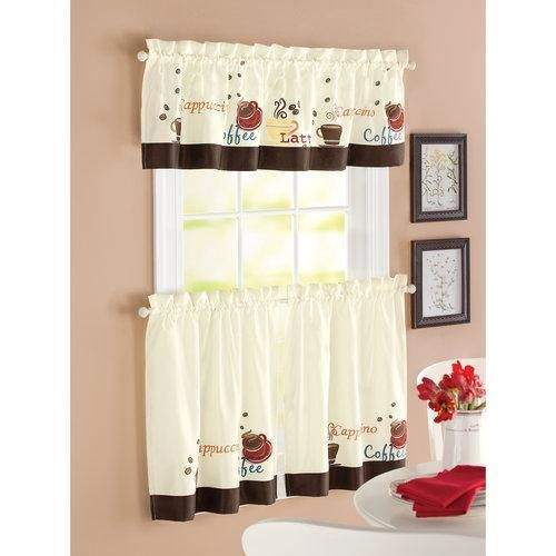 Details About Red Brown Off White Coffee Themed 3Pc Kitchen With Regard To Embroidered 'Coffee Cup' 5 Piece Kitchen Curtain Sets (View 2 of 25)