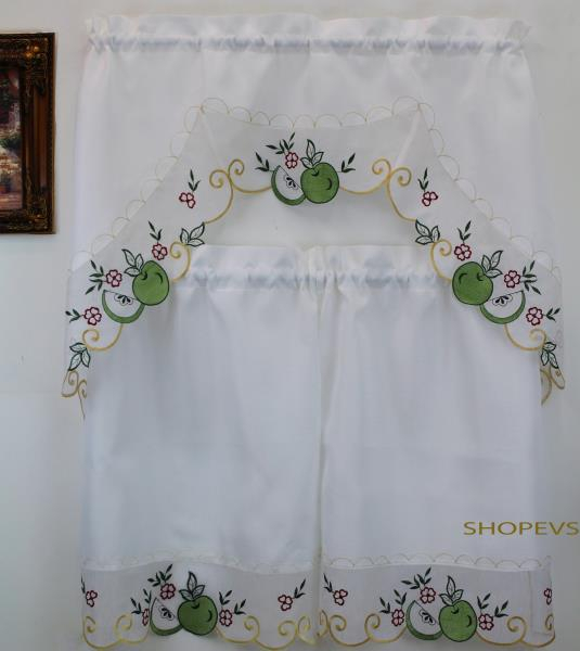 Details About Royal Apple Green Kitchen Curtain With Swag And Tier Set 36 In For Delicious Apples Kitchen Curtain Tier And Valance Sets (Image 12 of 25)