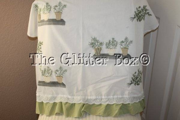 Details About Shabby Cottage Chic White Cafe Curtain Panels Herbs In Flower Pots 30 X 24 B13 Throughout Dexter 24 Inch Tier Pairs In Green (View 8 of 25)