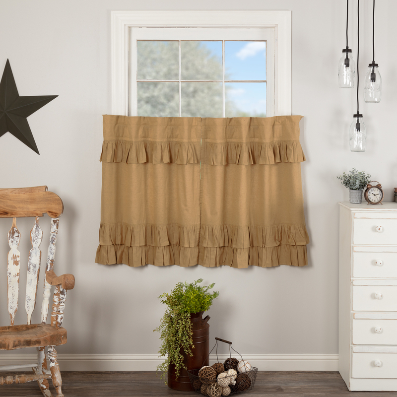 Details About Simple Life Flax Khaki Ruffled Country Farmhouse Lined Tiers (2) Sizes In Simple Life Flax Tier Pairs (View 1 of 25)