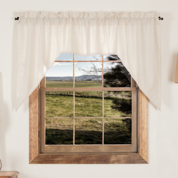 Details About Simple Life Flax Natural Cotton Country Cottage Lined Window Swags For Simple Life Flax Tier Pairs (View 6 of 25)