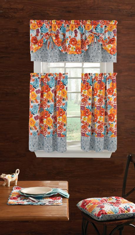 Details About The Pioneer Woman 3Piece Kitchen Curtain Set With Valance And Tier Window Decor For Lodge Plaid 3 Piece Kitchen Curtain Tier And Valance Sets (View 24 of 25)