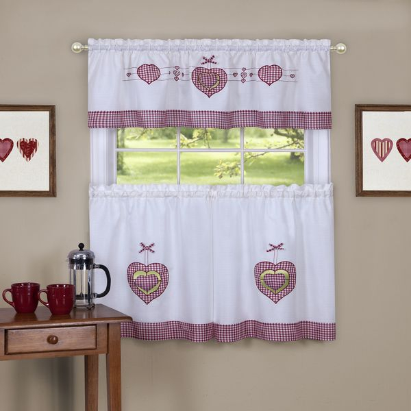 Details About Tier And Valance Gingham Hearts Window Curtain Set Red / White In Window Curtain Tier And Valance Sets (Image 14 of 25)