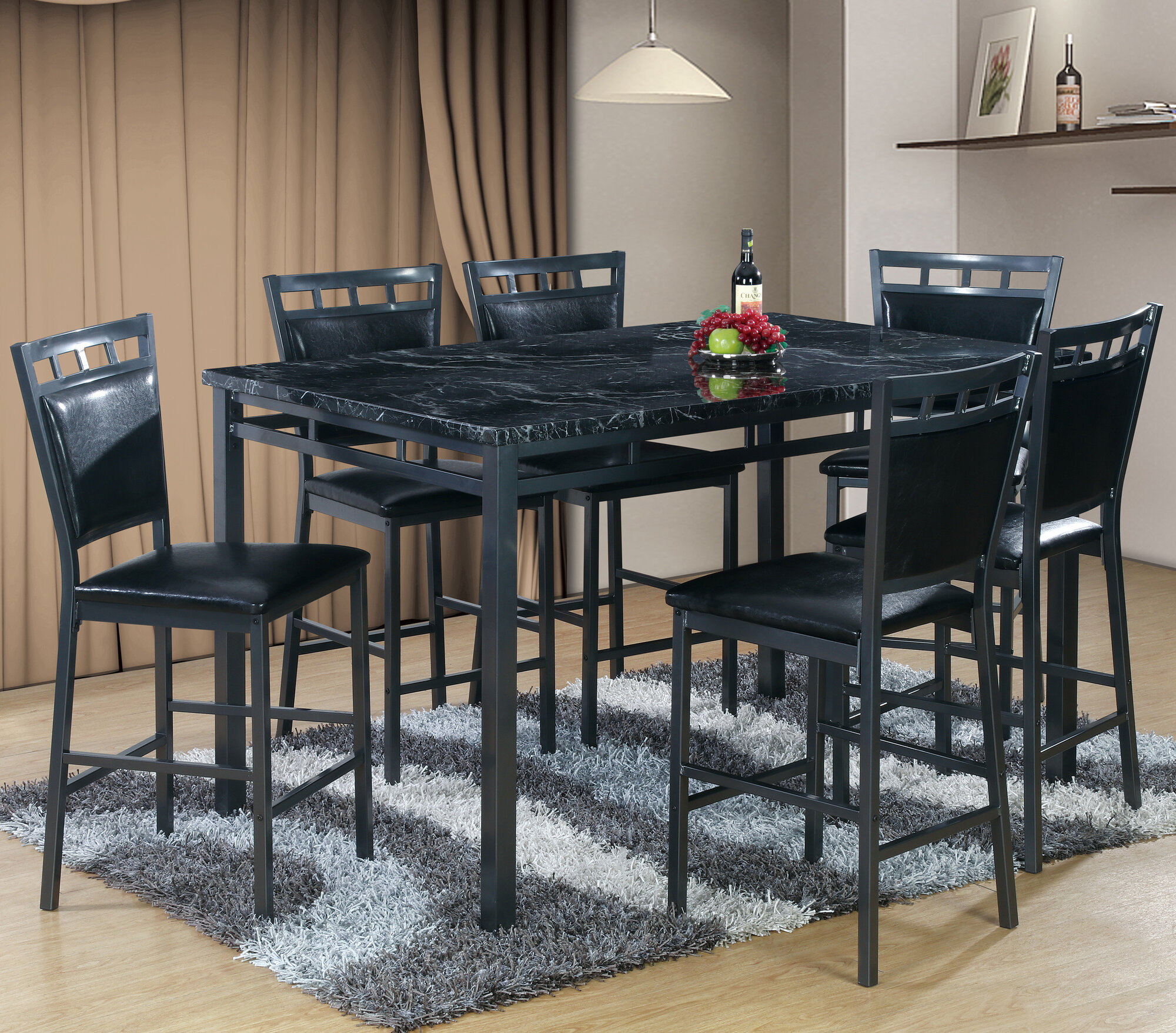 Details About Winston Porter Pickerington 7 Piece Counter Height Dining Table Set Intended For Most Recent Carson Counter Height Tables (View 21 of 25)