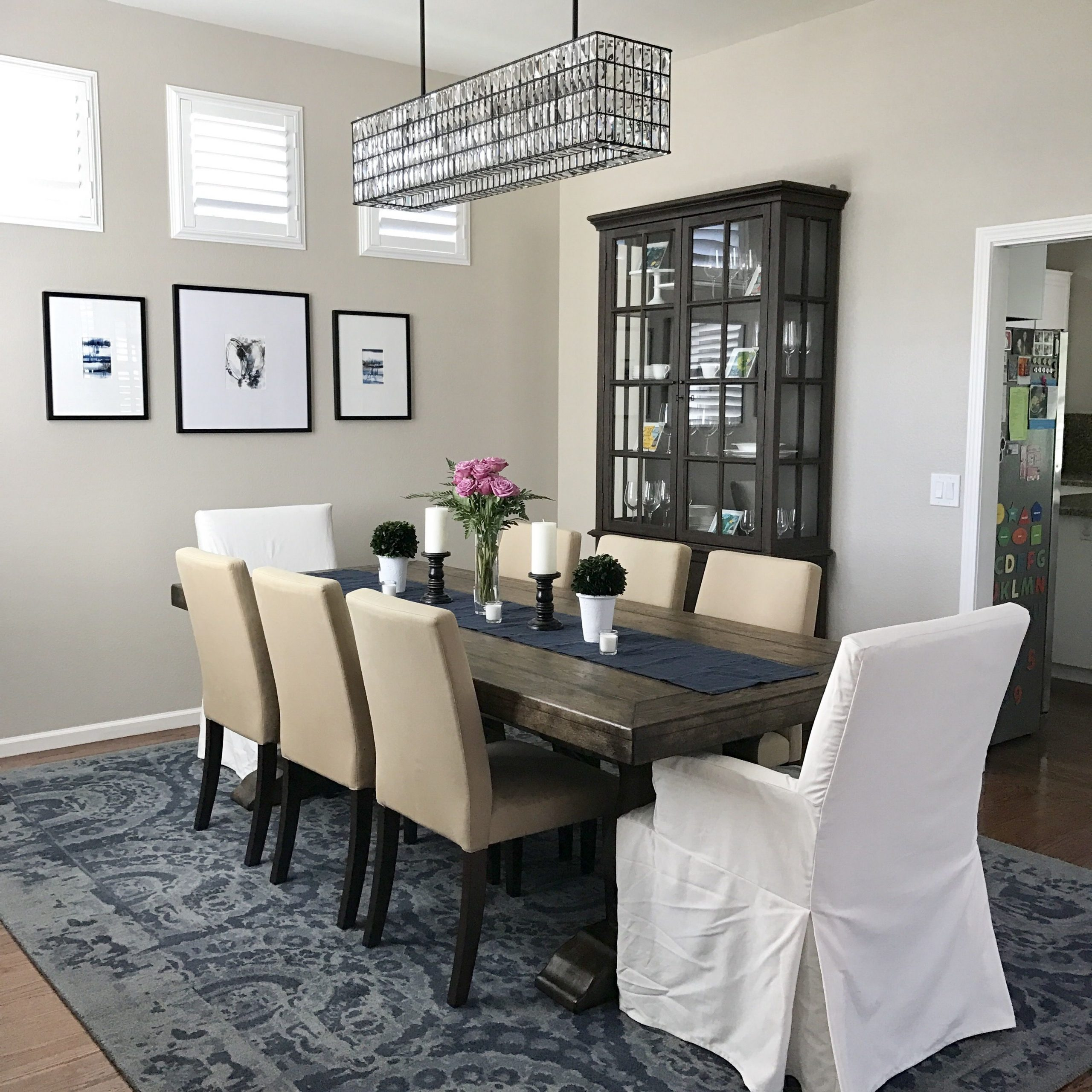 Dining Room Is Done! Pottery Barn Lorraine Extending Dining Throughout Best And Newest Hewn Oak Lorraine Pedestal Extending Dining Tables (View 8 of 25)