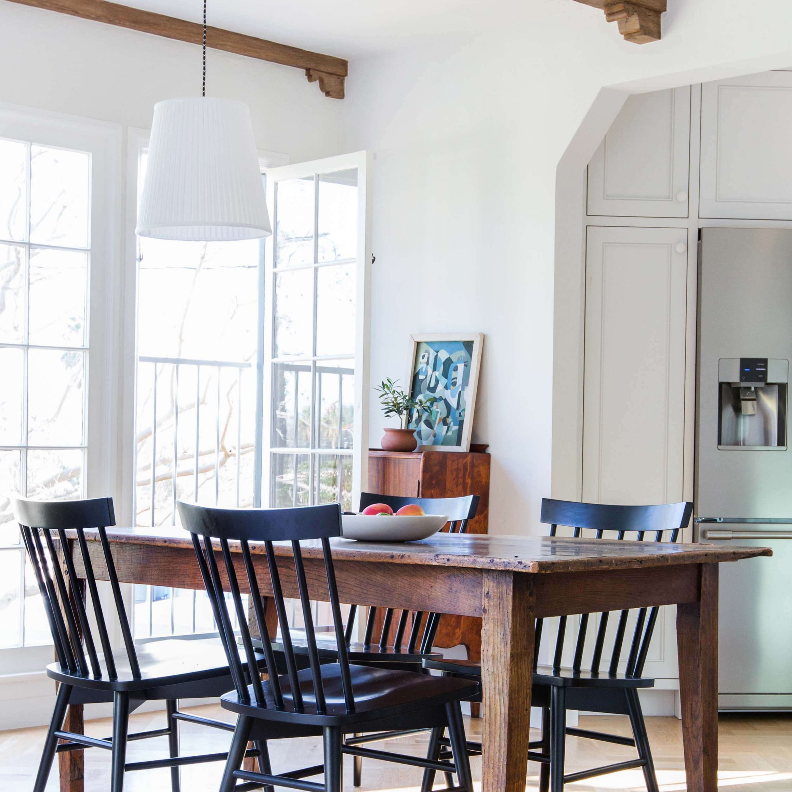 Dining Room Update With A Lot Of Questions – Emily Henderson Within 2018 Black Olive Hart Reclaimed Pedestal Extending Dining Tables (View 15 of 25)