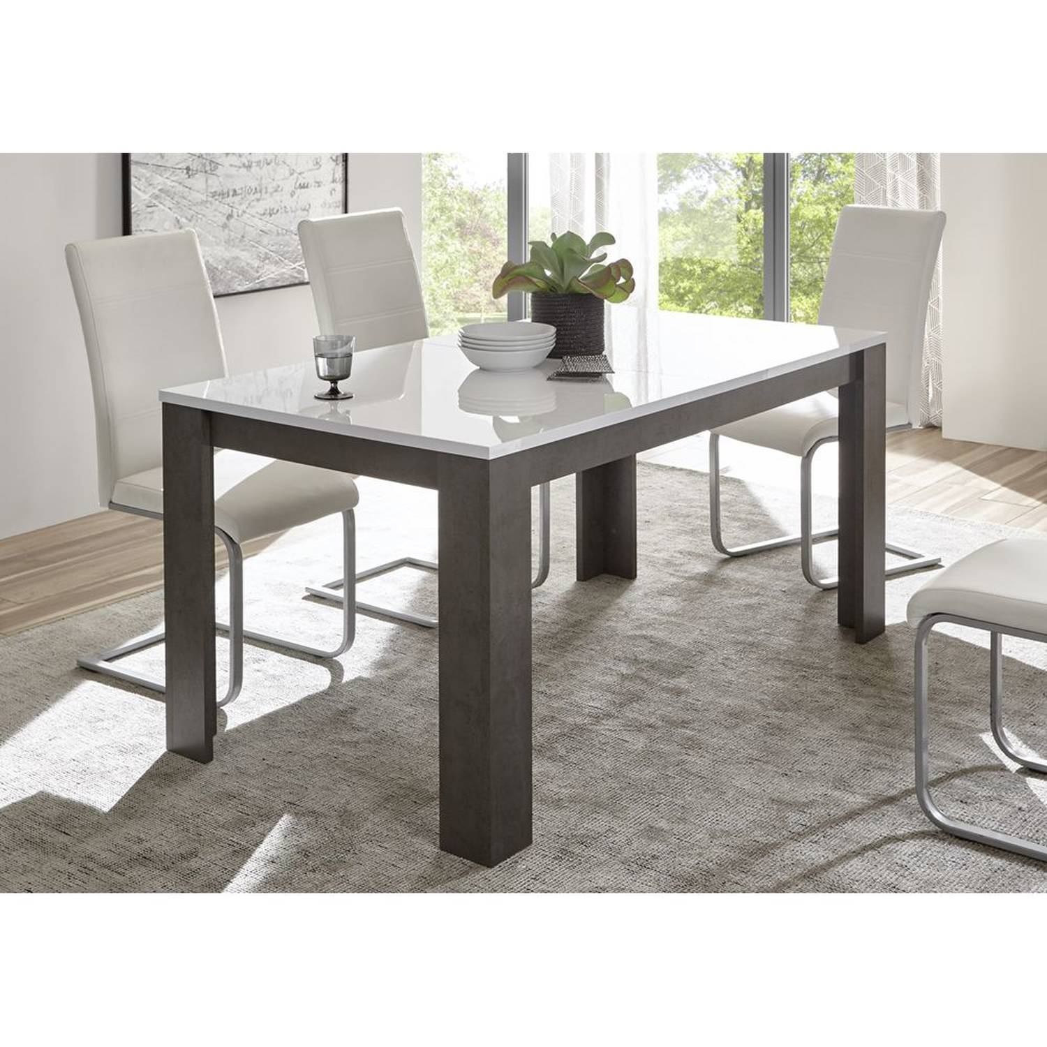Dining Table Extendable To 200Cm Eton 61 In Concrete Look Dark & High Gloss White W/h/d: 158 200/75/88Cm Regarding Most Recently Released Black Wash Banks Extending Dining Tables (View 19 of 25)