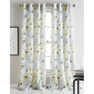 Dkny Modern Bloom Floral/flower Sheer Grommet Single Curtain For Marine Life Motif Knitted Lace Window Curtain Pieces (View 13 of 25)