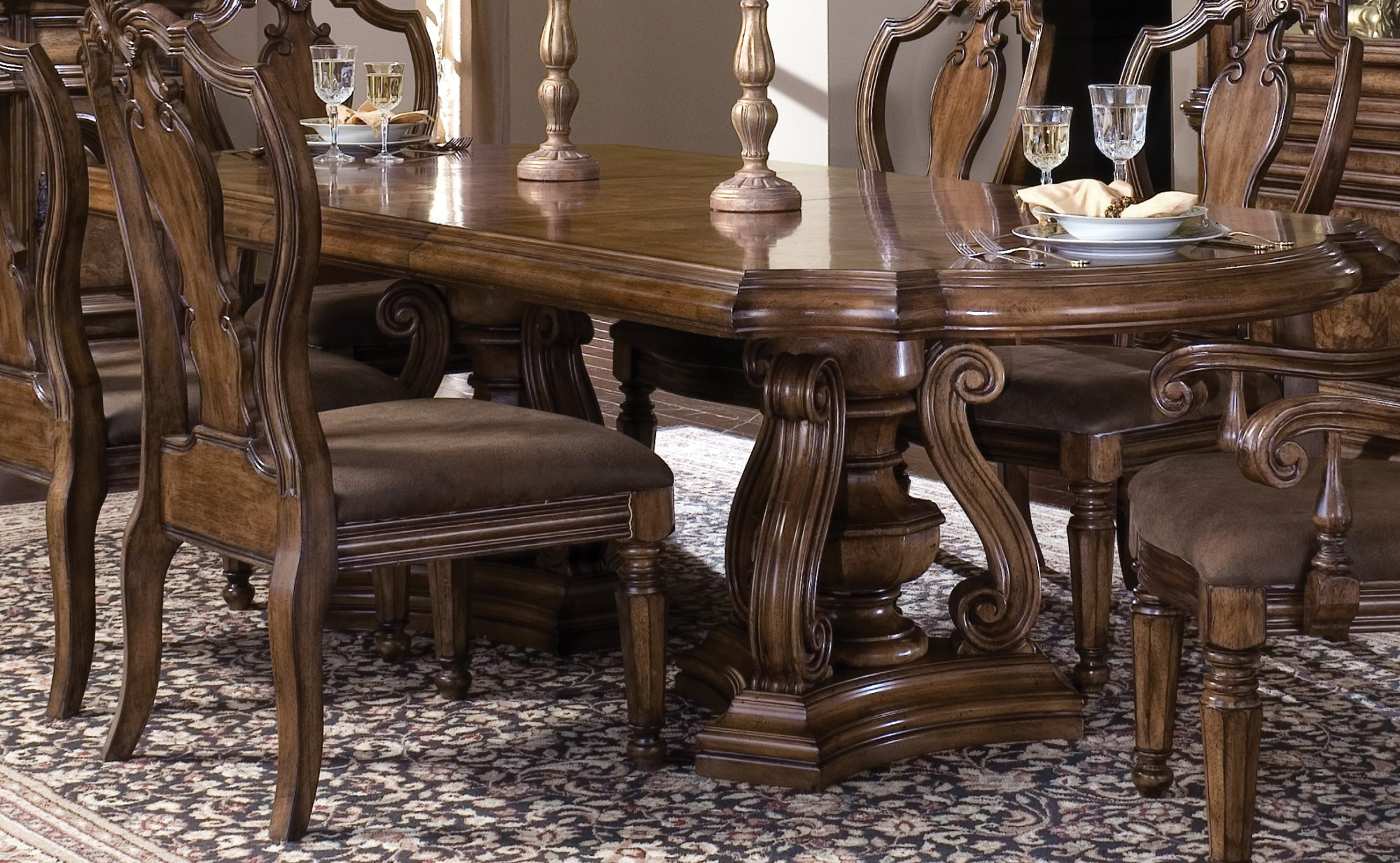 Double Pedestal Table In Most Current Mateo Extending Dining Tables (View 21 of 25)