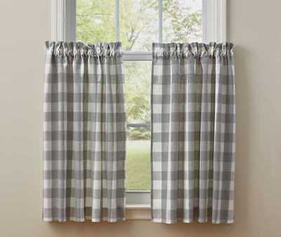 Dove Wicklow Tier Curtains 72Wx36L Gray Creamy White Buffalo Check Park Designs 762242420380 | Ebay Pertaining To Dove Gray Curtain Tier Pairs (View 2 of 25)