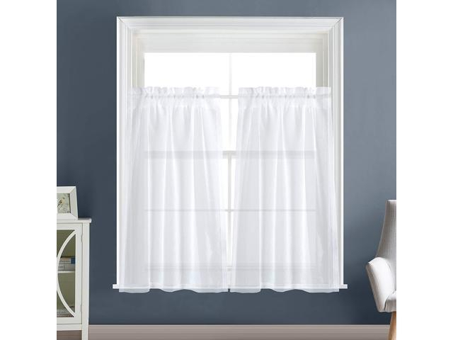 "Dreaming Casa Solid Sheer Kitchen Curtains Valance Tier Curtains Draperies White Rod Pocket, 2 Panels 2 30"" W X 36"" L – Newegg Regarding Rod Pocket Kitchen Tiers (View 20 of 25)"