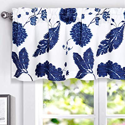 Driftaway Gianna Floral Leaf Botanical Lined Thermal Insulated Energy Saving Window Curtain Valance For Living Room Bedroom Kitchen 2 Layers Rod With Floral Blossom Ink Painting Thermal Room Darkening Kitchen Tier Pairs (View 5 of 25)