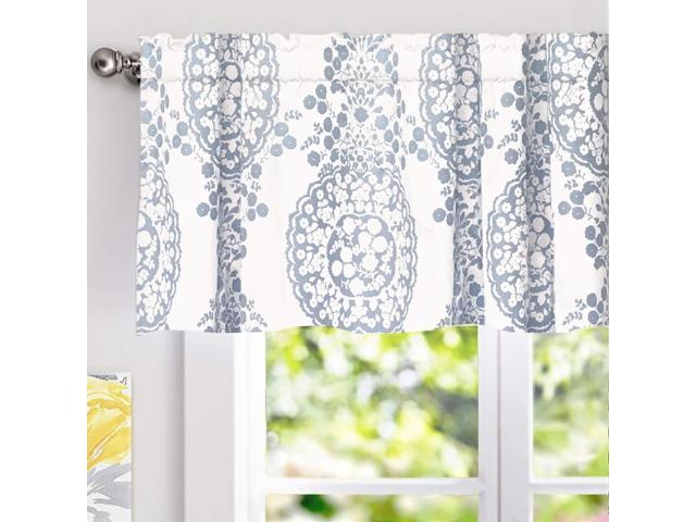 "Driftaway Samantha Window Curtain Valance, Floral/damask Medallion Pattern, Rod Pocket, 52""X18"" (Blue) – Newegg With Regard To Floral Pattern Window Valances (View 13 of 25)"